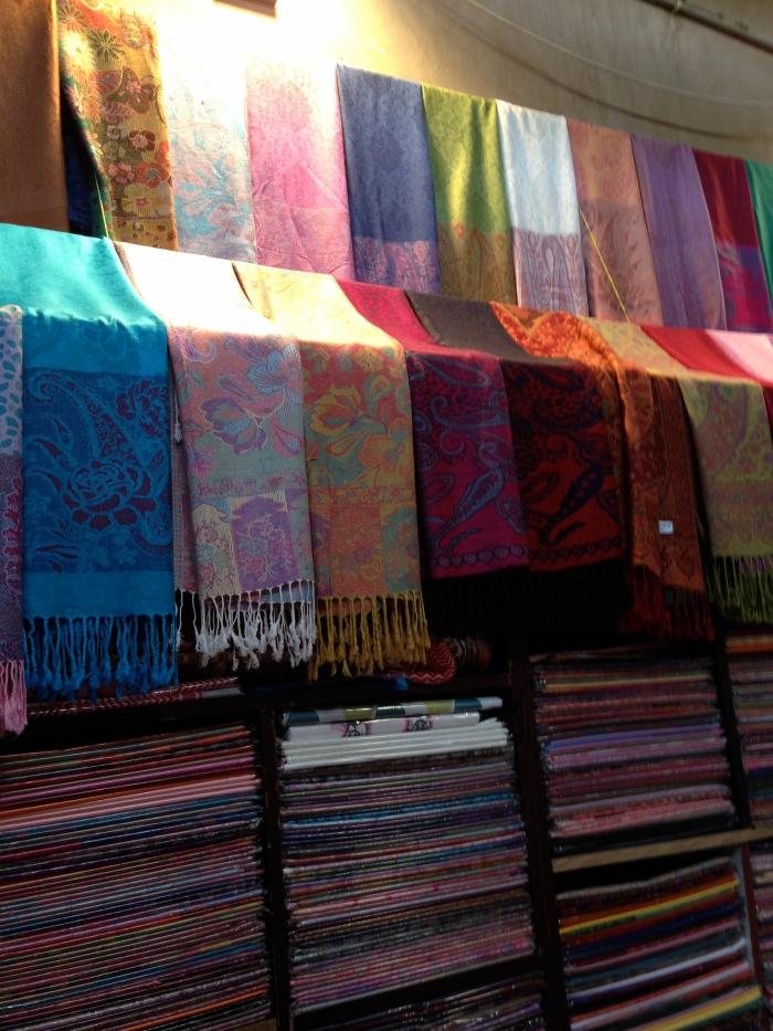 Silk scarves in the spice souk