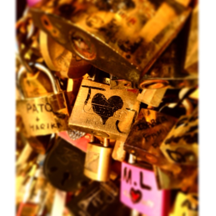 Love Locks! Our initials, but not actually ours...still made me smile!