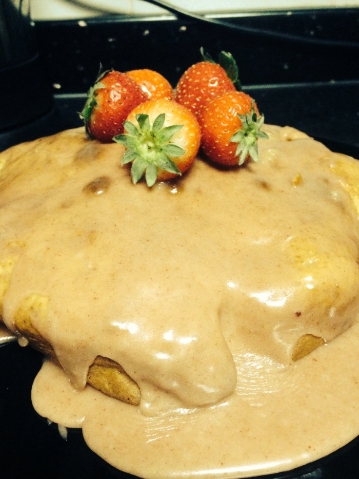 I baked a whole wheat strawberry dippy hippy cake!