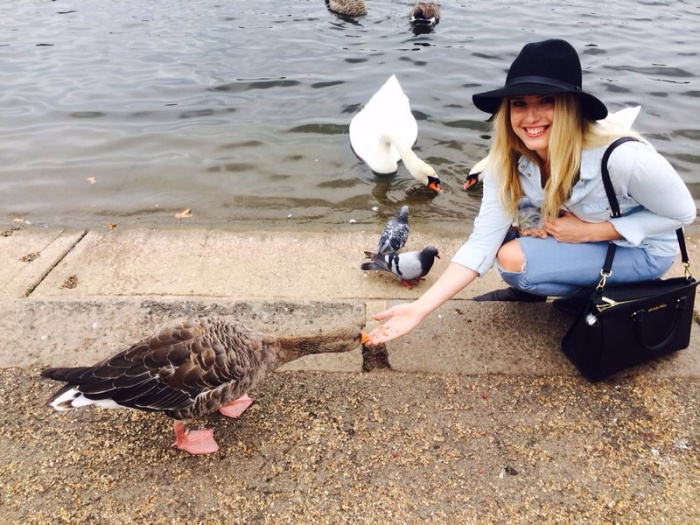 Feeding the geese! I love these little cuties because I used to have them as pets!