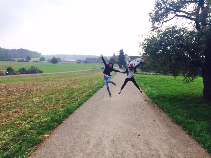Jane and I jumping for joy!