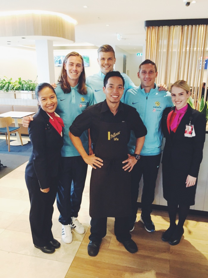The Socceroos were welcomed into the Business Lounge